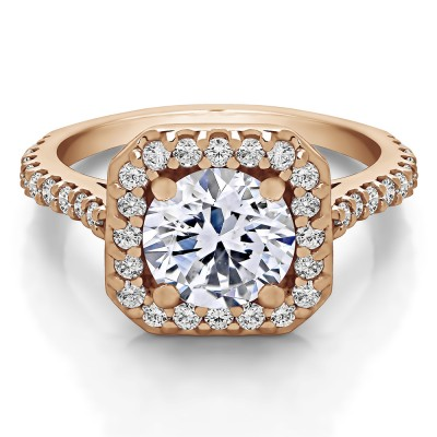 2.12 Ct. Round Halo Engagement Ring in Rose Gold