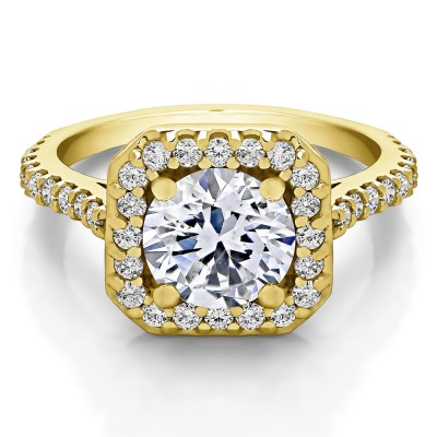 2.12 Ct. Round Halo Engagement Ring in Yellow Gold