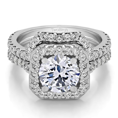 Round Halo Engagement Ring  Bridal Set (2 Rings) (2.56 Ct. Twt.)