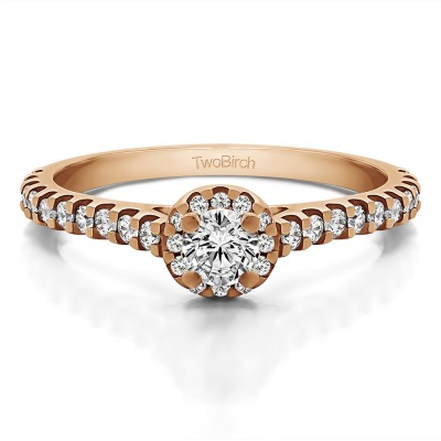 0.61 Ct. Round Halo Engagement Ring in Rose Gold