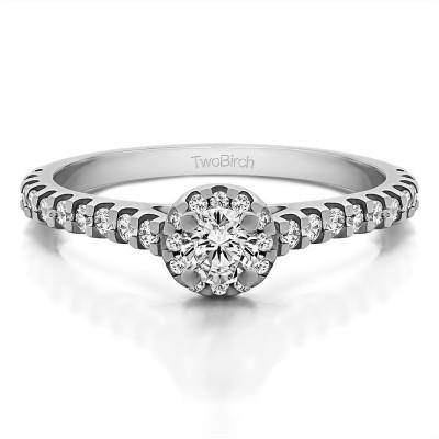 0.61 Ct. Round Halo Engagement Ring