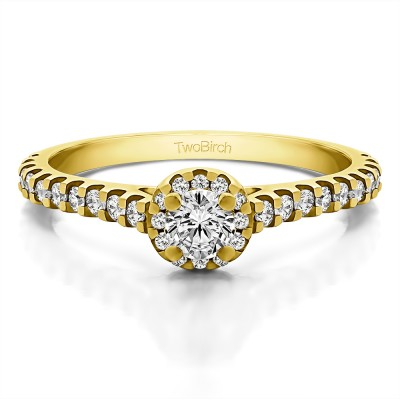 0.61 Ct. Round Halo Engagement Ring in Yellow Gold