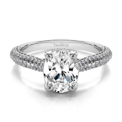 1.66 Ct. Oval Pave Set Engagement Ring