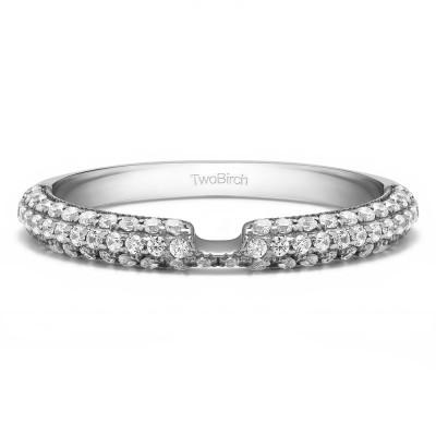 0.36 Carat Notched Vintage Matching Wedding Ring