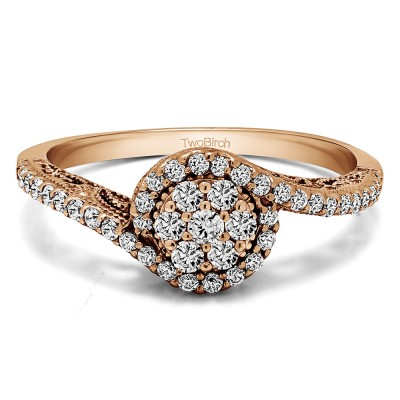 0.5 Ct. Round Bypass Cluster Halo Engagement Ring in Rose Gold