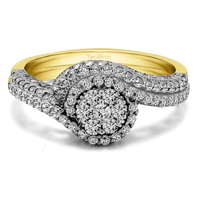 Bypass Halo Engagement Ring  Bridal Set (2 Rings) (0.60 Ct. Twt.)