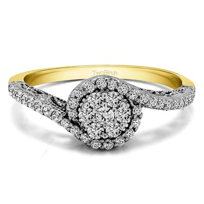 0.5 Ct. Round Bypass Cluster Halo Engagement Ring in Two Tone Gold
