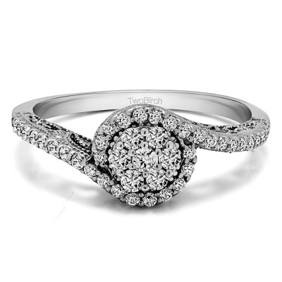 0.5 Ct. Round Bypass Cluster Halo Engagement Ring