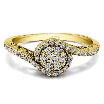 0.5 Ct. Round Bypass Cluster Halo Engagement Ring in Yellow Gold