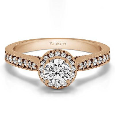 0.78 Ct. Round Vintage Halo Engagement Ring in Rose Gold