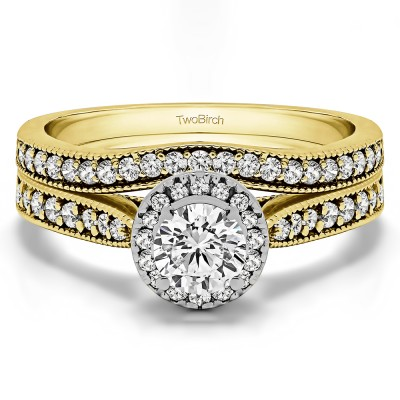 Vintage Halo Engagement Ring Bridal Set (2 Rings) (1.01 Ct. Twt.)