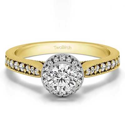 0.78 Ct. Round Vintage Halo Engagement Ring in Two Tone Gold