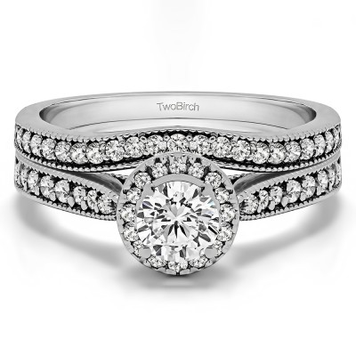 Vintage Halo Engagement Ring Bridal Set (2 Rings) (1.01 Ct. Twt.)
