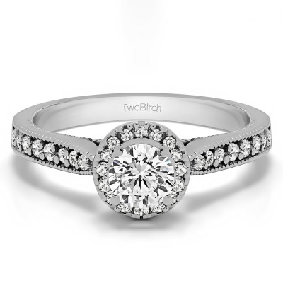 0.78 Ct. Round Vintage Halo Engagement Ring