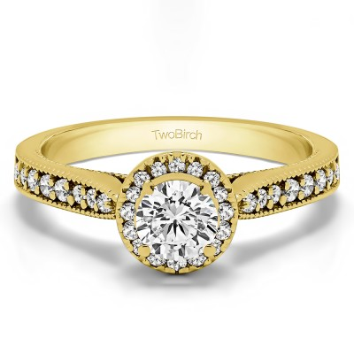 0.78 Ct. Round Vintage Halo Engagement Ring in Yellow Gold