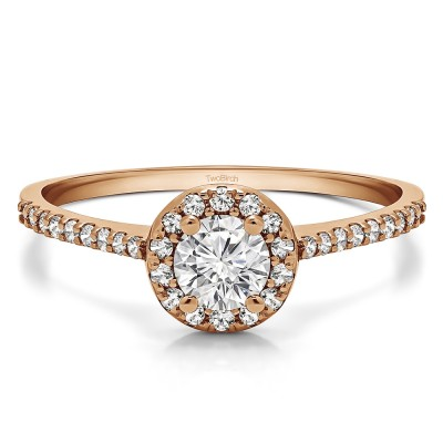 0.74 Ct. Delicate Round Halo Engagement Ring in Rose Gold