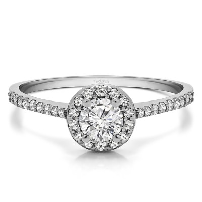 0.74 Ct. Delicate Round Halo Engagement Ring