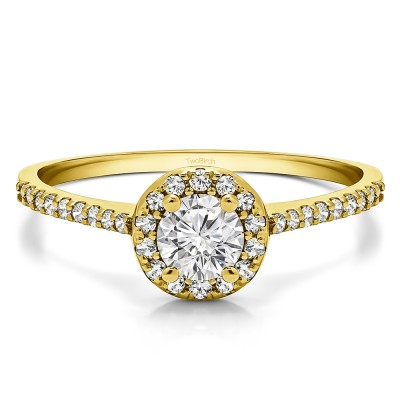 0.74 Ct. Delicate Round Halo Engagement Ring in Yellow Gold