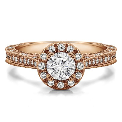 1.02 Ct. Millgrained Round Vintage Halo Engagement Ring in Rose Gold
