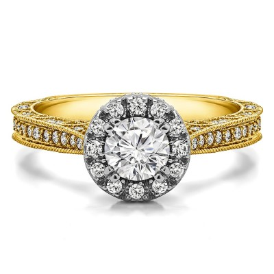 1.02 Ct. Millgrained Round Vintage Halo Engagement Ring in Two Tone Gold