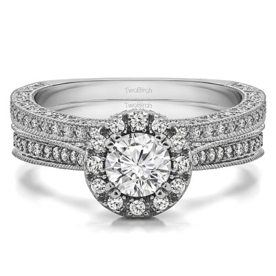 Round Vintage Halo Engagement Ring Bridal Set (2 Rings) (1.32 Ct. Twt.)