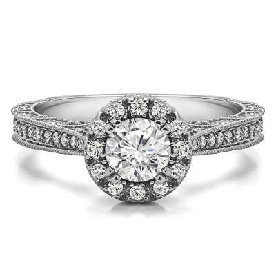 1.02 Ct. Millgrained Round Vintage Halo Engagement Ring