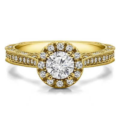 1.02 Ct. Millgrained Round Vintage Halo Engagement Ring in Yellow Gold