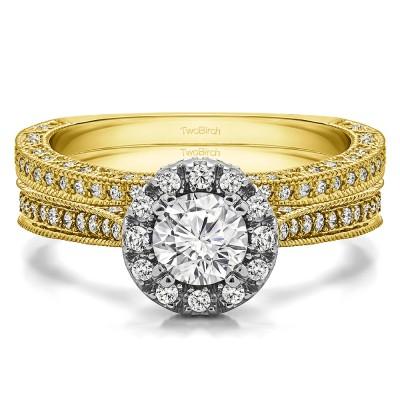 Round Vintage Halo Engagement Ring Bridal Set (2 Rings) (1.32 Ct. Twt.)