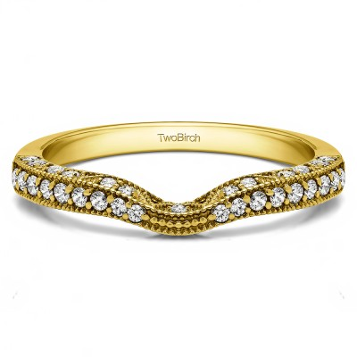 0.296 Carat Notched Vintage Millgrained Matching Wedding Ring