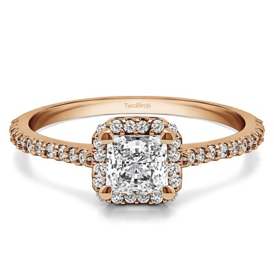 0.76 Ct. Princess Halo Engagement Ring in Rose Gold