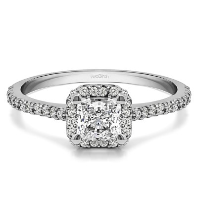 0.76 Ct. Princess Halo Engagement Ring