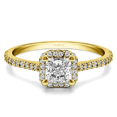 0.76 Ct. Princess Halo Engagement Ring in Yellow Gold