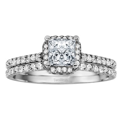 Princess Halo Engagement Ring Bridal Set (2 Rings) (1.01 Ct. Twt.)
