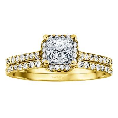 Princess Halo Engagement Ring Bridal Set (2 Rings) (1.01 Ct. Twt.)