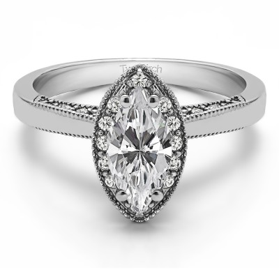 1 Carat Moissanite Marquise Halo Solitaire