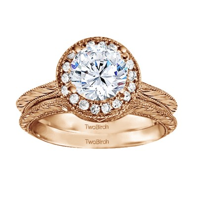 Round Vintage Knife Edged Engagement Ring Bridal Set (2 Rings) (0.89 Ct. Twt.)