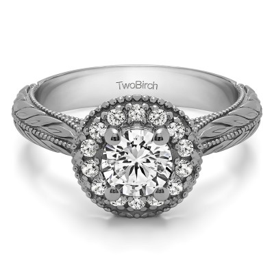 0.89 Ct. Round Vintage Halo Engagement Ring with Engraved Shank