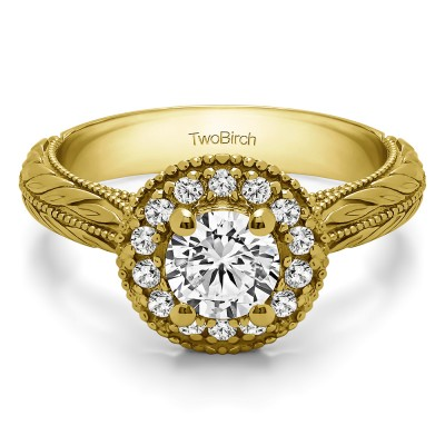 0.89 Ct. Round Vintage Halo Engagement Ring with Engraved Shank in Yellow Gold
