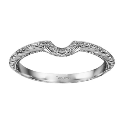 Plain Vintage Engraved Matching Wedding Ring