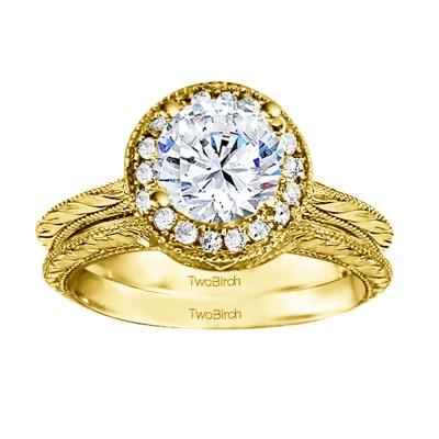 Round Vintage Knife Edged Engagement Ring Bridal Set (2 Rings) (0.89 Ct. Twt.)