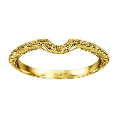 Plain Vintage Engraved Matching Wedding Ring