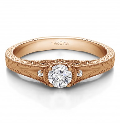 0.28 Ct. Vintage Three Stone Engagement Ring with Engraved Shank in Rose Gold