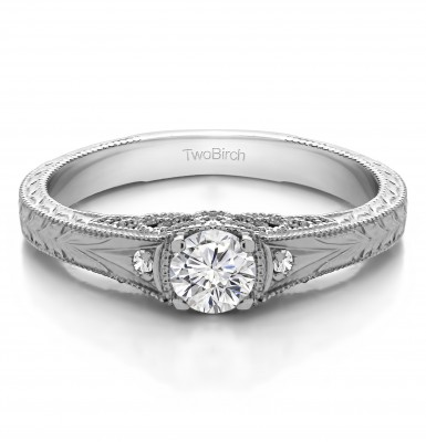 0.28 Ct. Vintage Three Stone Engagement Ring with Engraved Shank
