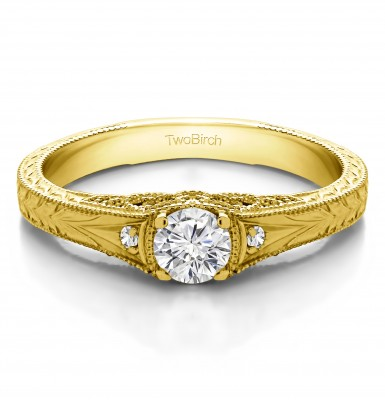 0.28 Ct. Vintage Three Stone Engagement Ring with Engraved Shank in Yellow Gold