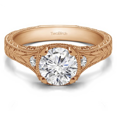 1.31 Ct. Vintage Three Stone Engagement Ring with Engraved Shank in Rose Gold