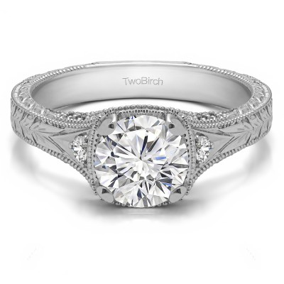 1.31 Ct. Vintage Three Stone Engagement Ring with Engraved Shank With Cubic Zirconia Mounted in Sterling Silver (Size 7)