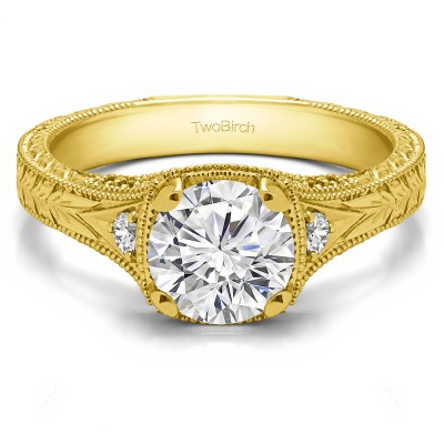 1.31 Ct. Vintage Three Stone Engagement Ring with Engraved Shank in Yellow Gold