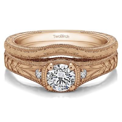 Three Stone Vintage Engraved Engagement Ring Bridal Set (2 Rings) (0.54 Ct. Twt.)