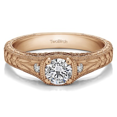 0.54 Ct. Round Three Stone Vintage Engraved Engagement Ring in Rose Gold