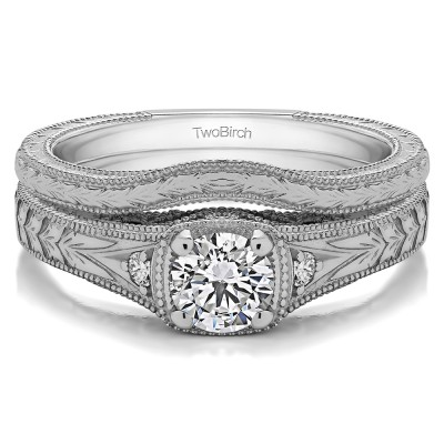 Three Stone Vintage Engraved Engagement Ring Bridal Set (2 Rings) (0.54 Ct. Twt.)